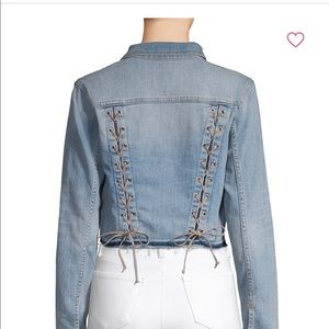 L' agence lace up cropped jean jacket